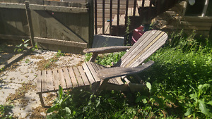 Two Wooden Deck Chairs