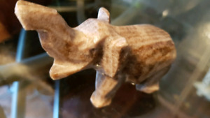 Small Vintage Hand Carved Stone Marble Elephant