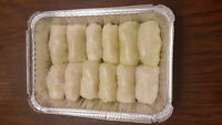 Homemade perogies and cabbage rolls