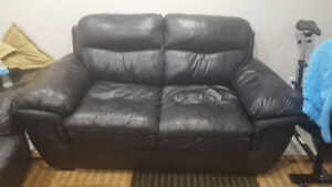 All leather sofa and love seat