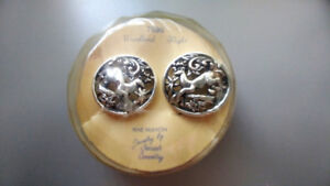 Vintage Sarah Coventry Deer Woodland clip on silver  Earrings