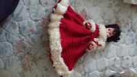 DOLL4 GIRL IN RED ROYAL CUFFED DRESS   WITH WHITE TRIM, CUFF &