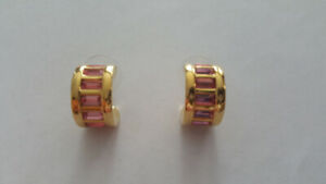NOLAN MILLER EARRINGS PINK RHINESTONES