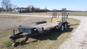 16 ft  trailer utility flatbed with ramp flat bed clean