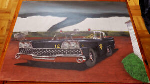 BIG DRAWING 1959 FORD POLICE CAR TORNADO - DESSIN ART AUTO