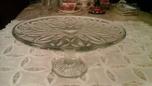 PRESSED GLASS PEDISTAL CAKE PLATE - ONE SOLID PIECE