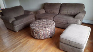 Good condition 4-piece sofa, chair and ottomans