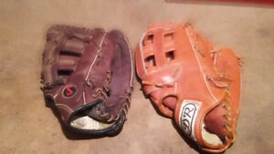 2 Baseball Gloves Baseball Mitts