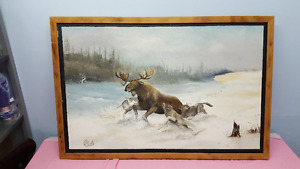 Moose with Wolves Painting