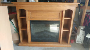 Electric fireplace and mantle.
