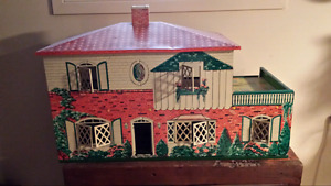 Vintage 1950's Marx Tin Litho Two Story Doll House with 6 Rooms