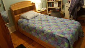Single Bed Frame, maple with storage