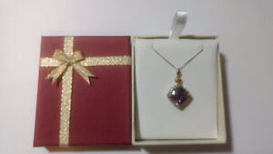 Stirling Silver Necklace/Pendant with Amethyst & White Topaz