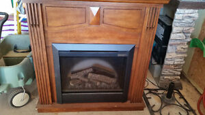 Solid wood electric fireplace