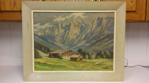 Antique alpine landscape oil painting