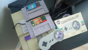 Snes with games and controllers