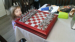 Fantasy Pewter and Crystal Chess Set