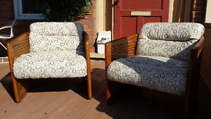 NEWLY UPHOLSTERED AND REFINISHED PAIR OF CHAIRS