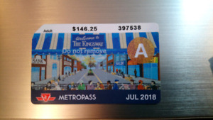 Adult July TTC metropass SOLD