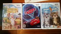 3 jeux Wii: Chicken Shoot, Cars 2 et PurrPals, 10$ chacun