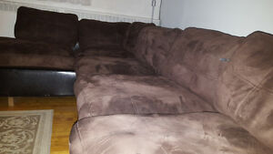 Dark Brown  Microsuede Sectional Couch. Fast sale!
