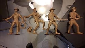 Four Vintage 1964 Marx Western Playset 6 inch Cowboys