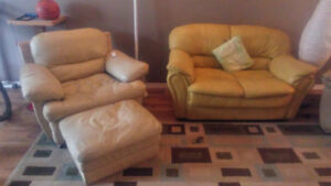 $100 leather chair with ottoman $50 leather love seat