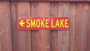 Provincial Park Sign Smoke Lake (Real)