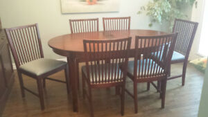Wood dining room set with hutch