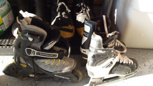 Roller blades and hockey skates