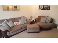 3 seater, cuddle chair (can seat 2), storage footstool. Matching scatter cushion covers.