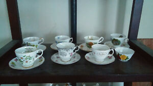 CHINA & SILVER TEAPOTS, TEACUPS & SAUCERS, SILVER TRAYS