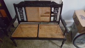 2 Seater Bench Dark Wood and Lattice work Conservatory