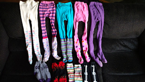 9 pairs of girl's leggings and funky knee-high socks (size 6/7)