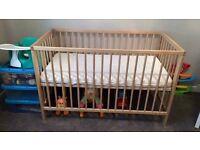 IKEA cot /mattress/boys bedding bundle/mobile + sleeping bag