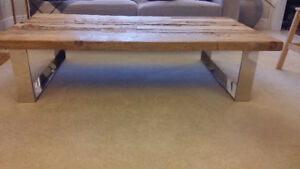 Russian Pine coffee table on Polished Stainless Steel base