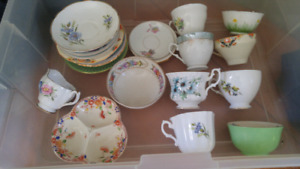 Assorted china cups