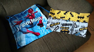 Spiderman drawstring backpack and Batman pencil case