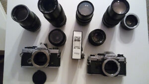 2 olympus cameras+7lenses, flash and aluminium case