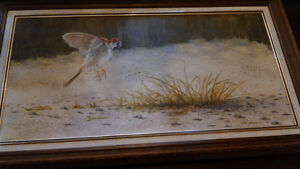 Oil painting of a bird in a prairie scene