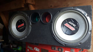 Two Kenwood Amps And Dual Pioneer Subs Box