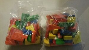 Two large bags of clean wooden blocks