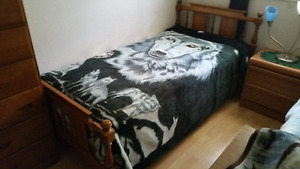 Bed and mattress, and a tall dresser and a mirrored dresser