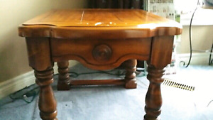 1970 solid pine coffee table and 2 end tables
