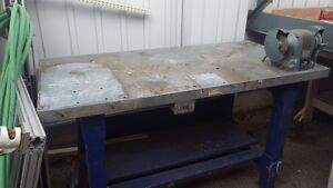 Metal top work bench with attached grinder