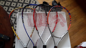 4 Racquetball Racquets & 2 Pairs Goggles