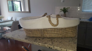 Baby items- Restoration Hardware Bassinet and MEC baby carrier