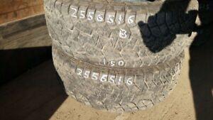 Pair of 2 Hankook Dynapro ATM 255/65R16 tires (70% tread life)