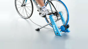TacX Blue Matic Smart indoor bike trainer with raiser block/tyre