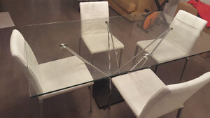 Glass dining table - 4 chairs & Glass coffee table - Moving sale